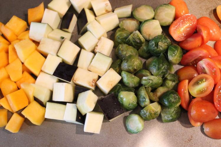 Stacked Veggies and Chickpeas with Greek Yogurt Balsamic Sauce #stonyfieldblogger #sponsored