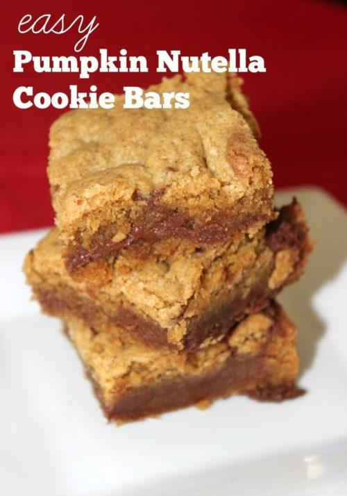 Easy Pumpkin Nutella Cookie Bars #SundaySupper
