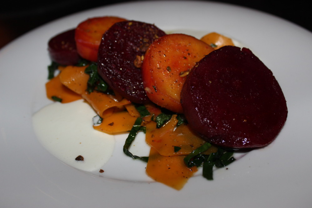 Harvest Seasonal Grill and Wine Bar Beet Scallops