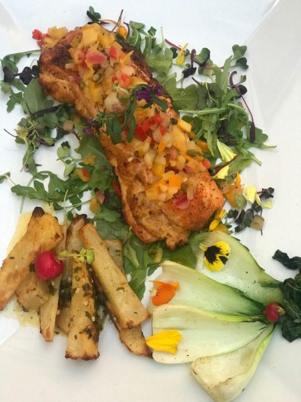 MoBu Fusion Cafe Boca Raton, Crab-Stuffed Salmon