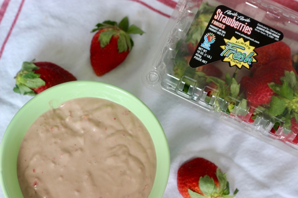 Vegan Chocolate-Covered Strawberry Cheesecake Dip with Fresh From Florida Strawberries