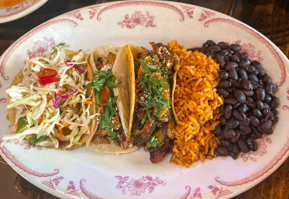 Taco Platter with Rice and Beans