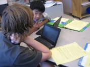 Pairs of students research their selected part of the plastic life cycle using Netbooks. The Google Docs intro is TOMORROW, so they get research done before fooling around with pics and formats.