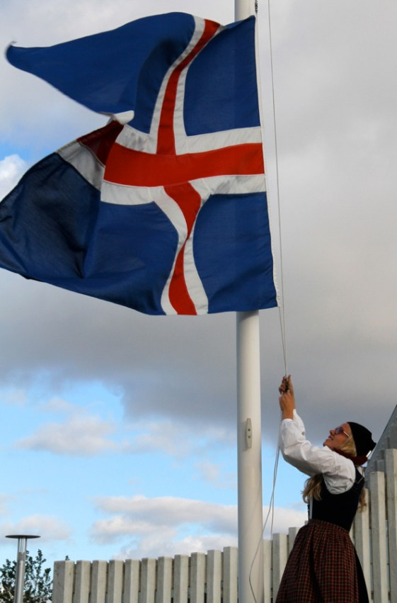 Hoisting the Icelandic flag on Independence Day