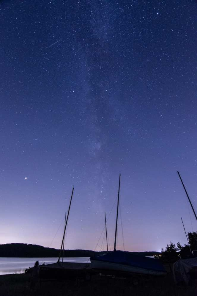 galactic core milky way moraine state park meteor perseid boat ramp boat storage masts night photography astrophotography long exposure