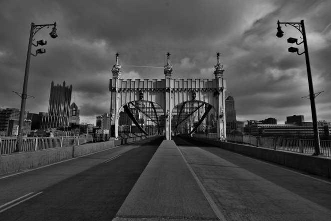Smithfield St bridge arches pittsburgh black and white