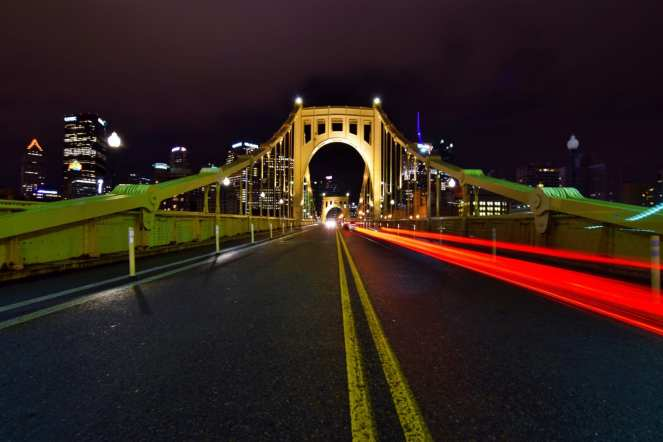 brake light trail on the clemente bridge downtown pittsburgh
