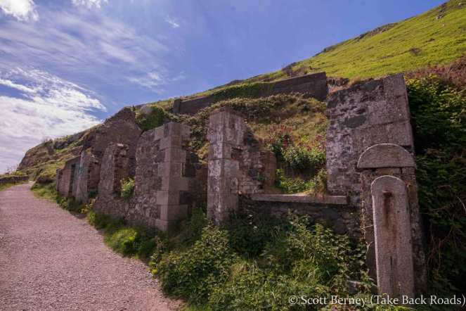 Ancient ruins along the cliff walk from Bray to Greystones south of Dublin Ireland