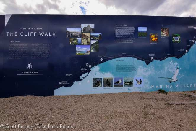 Information board describing the history and sites along the cliff walk from Bray to Greystones on the Irish coast