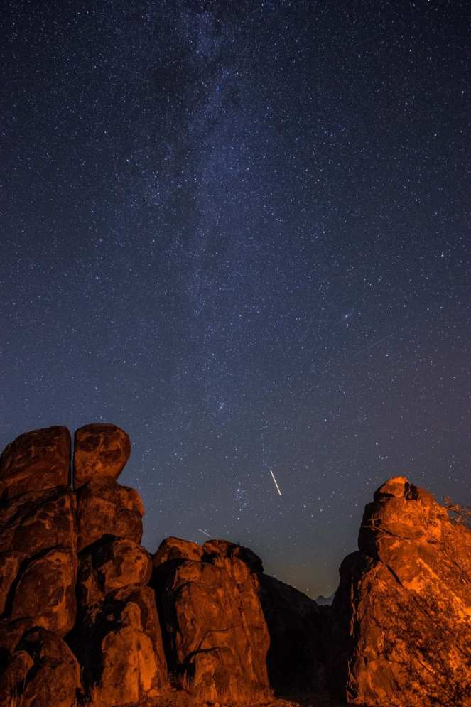 Milky Way Andromeda galaxy stars starry rock formations