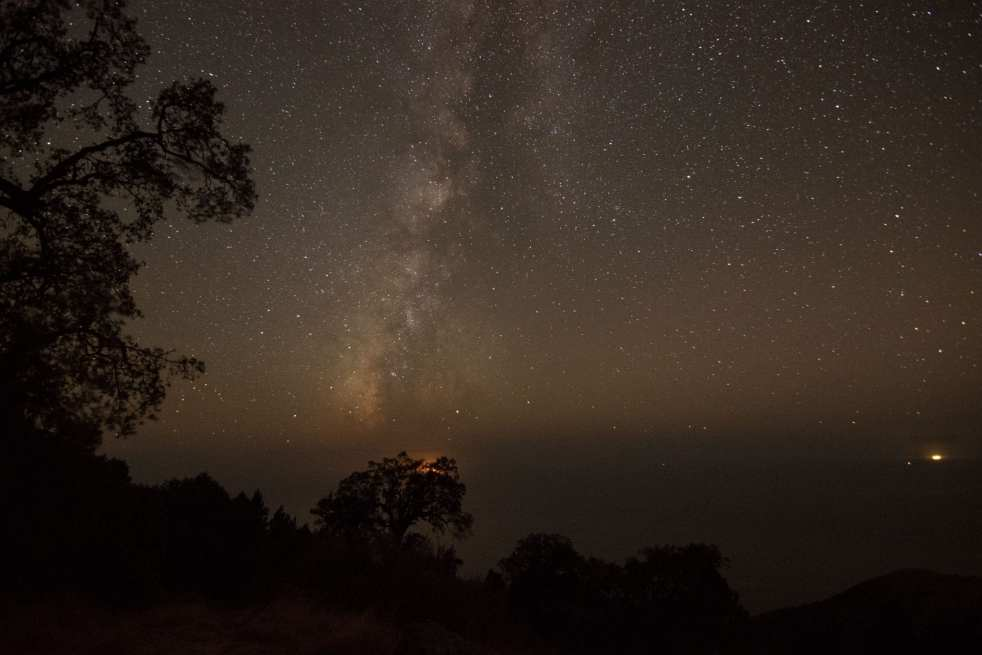 Milky Way live oak trees camping big sur California coast