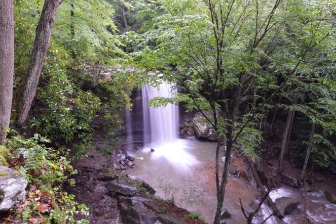 View of Cucumber Falls from the stairs heading to the bridal veil falls at Cucumber Run