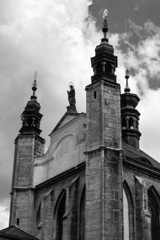 Sedlec Ossuary church exterior in black and white
