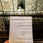 Sedlec ossuary bone church info card, front side, being held in front of a large display of human bones