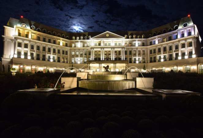 Nemacolin Woodlands Resort under a cloudy full moon