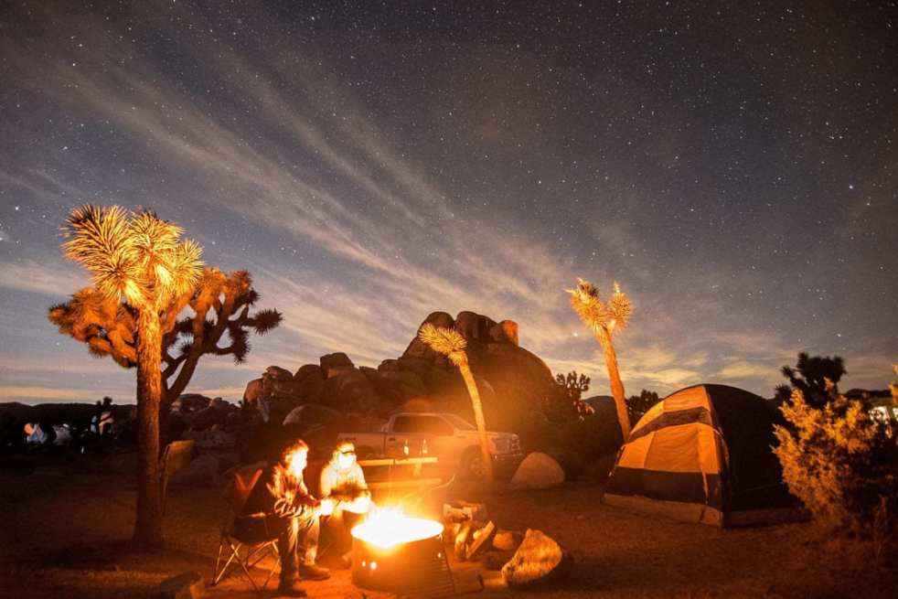 Sitting by the campfire in Joshua Tree National Park under a dark canopy of stars