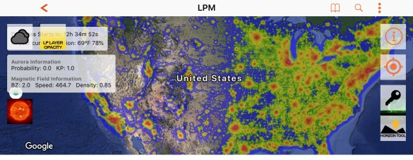 Dark sky app. Light pollution app. Night sky photo app. A screenshot of a light pollution map, reflecting heavy concentrations of light pollution in the eastern United States, compared to relatively minimal light pollution in much of the western United States.