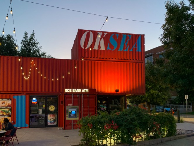 Red shipping containers are now home to Anchor Down hot dog shoppe in Oklahoma City
