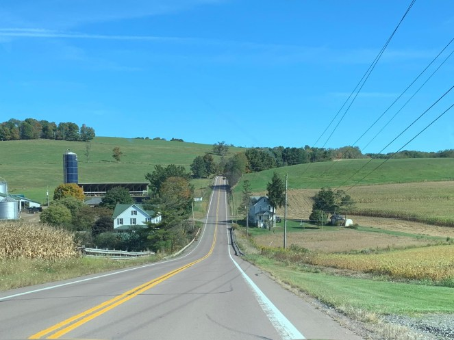 serene back road and farm land in pennsylvania