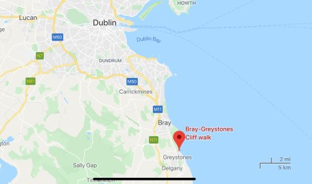 Map of Dublin, showing the location of the cliff walk from Bray to Greystones