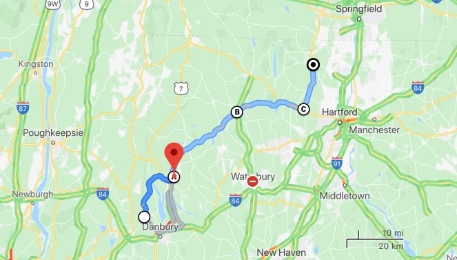 Map of road trip on Connecticut back roads