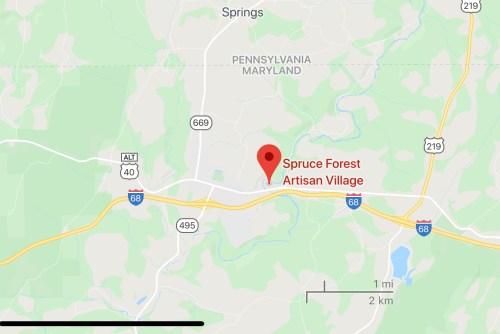 Map of the Spruce Forest Artisan Village, on US-40 just outside of Grantsville MD