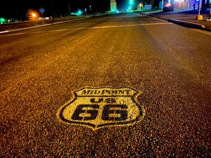 US Route 66 road marker painted onto the street