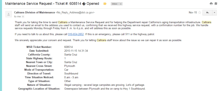 Example of Cal Trans Maintenance Request