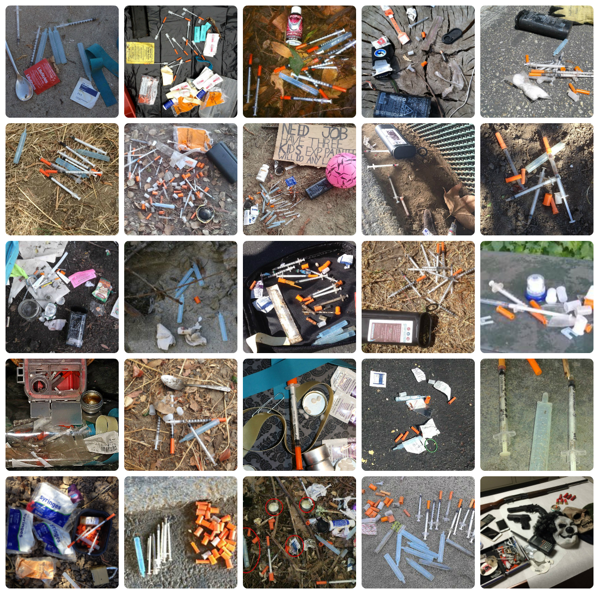 Just a few recent photos of needles along with County SSP kits found in public spaces