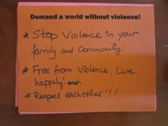 Stop violence in your family and community! Free from violence. Live happily! Respect each other!!!! Free from viol