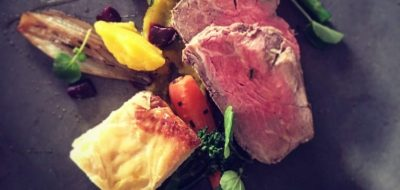 Roast fillet of beef with shallots and dauphinoise.
