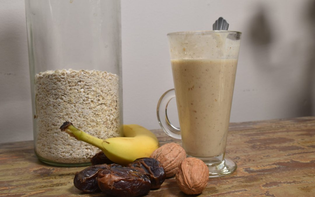 Banana, walnut and date oat-milk smoothie ice cream