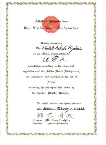 Makoto Aikido Kyokai Hombu Dojo Certificate