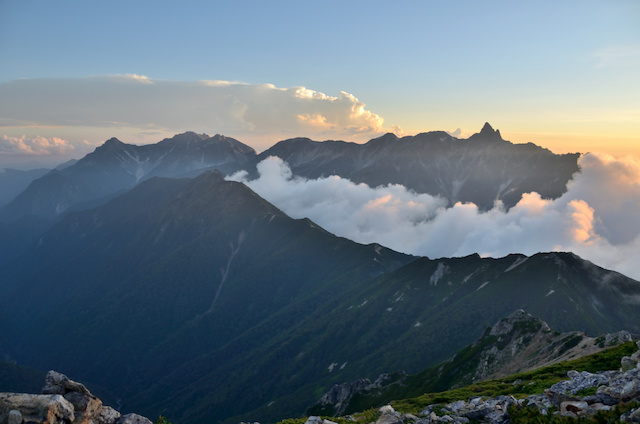 大天井岳 山頂からの眺め 穂高連峰方面