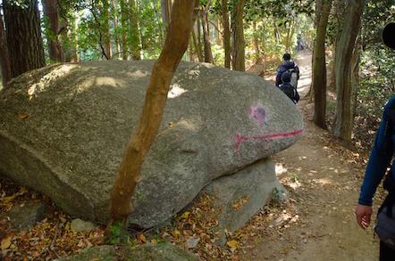 猿投山 登山道 カエル岩