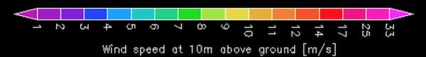 気圧・風速画面 色別風力表