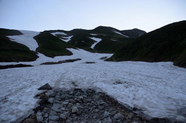 立山三山縦走 雷鳥沢 雪渓