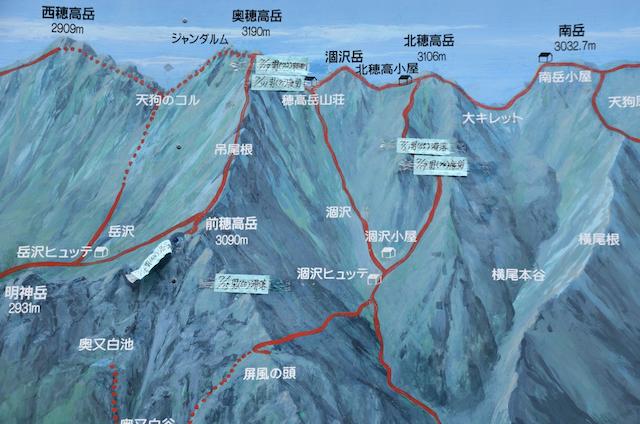 上高地 横尾 登山道看板