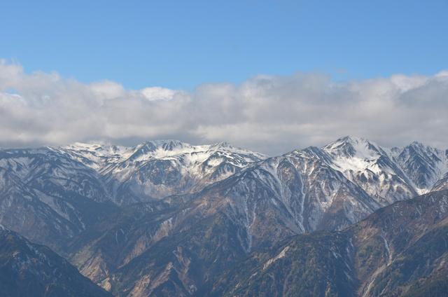 燕岳 山頂からの眺め 三俣蓮華岳、黒部五郎岳、鷲羽岳、水晶岳