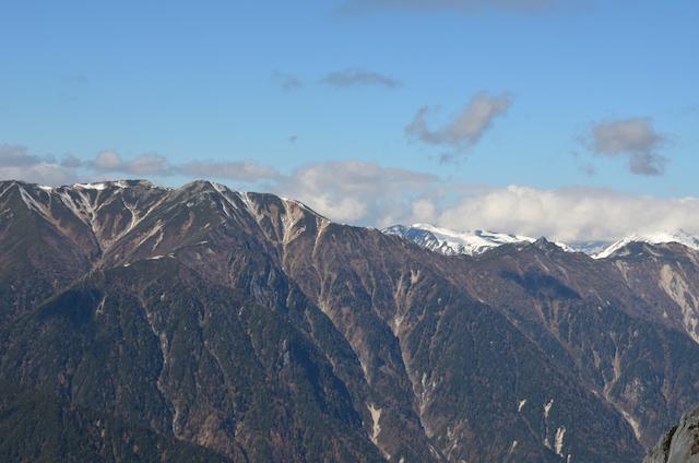 燕岳 山頂からの眺め 烏帽子岳、鷲岳、雲ノ平