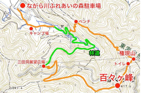 百々ヶ峰 登山地図
