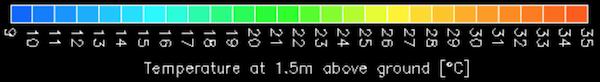 気温・湿度画面 色別温度図