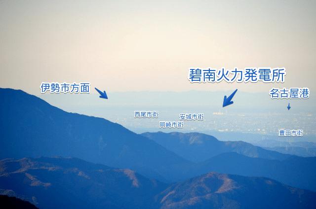 山座同定 空木岳山頂からの眺め 愛知県方面