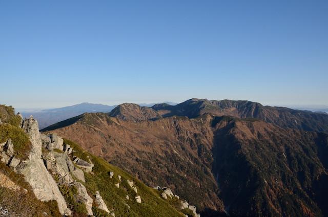 空木岳 山頂からの眺め 木曽駒ヶ岳方面