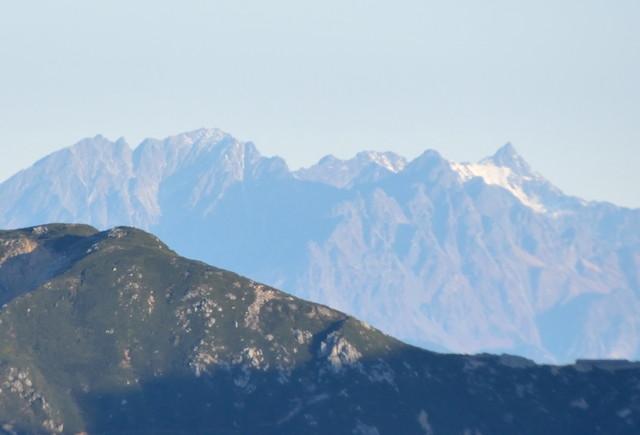 空木岳 山頂からの眺め 槍ヶ岳方面