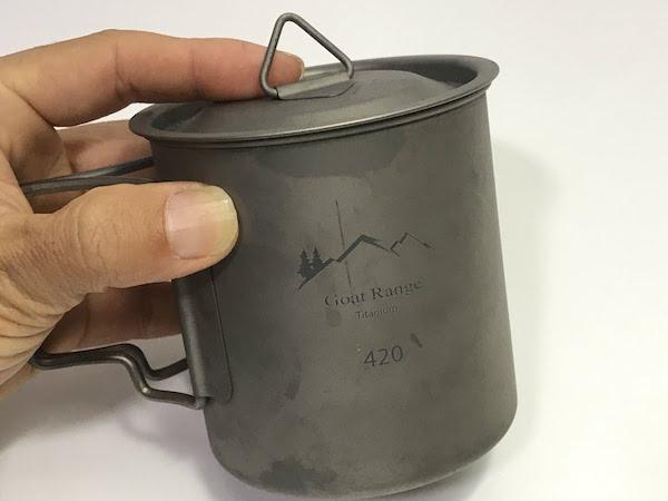 ゴートレンジ チタン製マグカップ 420ml (蓋付き)