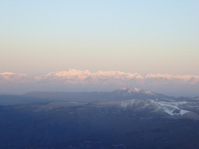 八ヶ岳 天狗岳 厳冬期 山頂からの眺め 穂高連峰