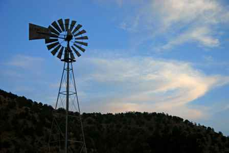 Windmill at sunset along US 82, New Mexico