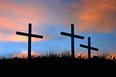 Crosses at Mayhill Baptist Church, US 82, New Mexico
