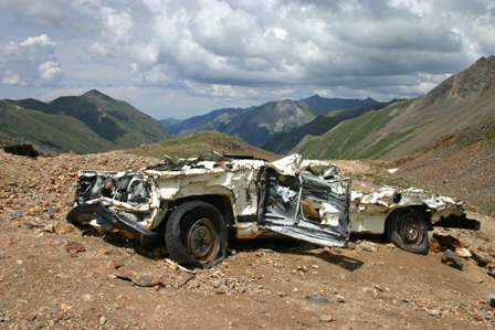 wrecked car, corkscrew pass road, near Poughkeepsie Gulch, Colorado